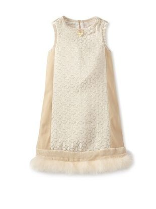 60% OFF Blumarine Girl's Dress with Marabou (Ivory/Gold)