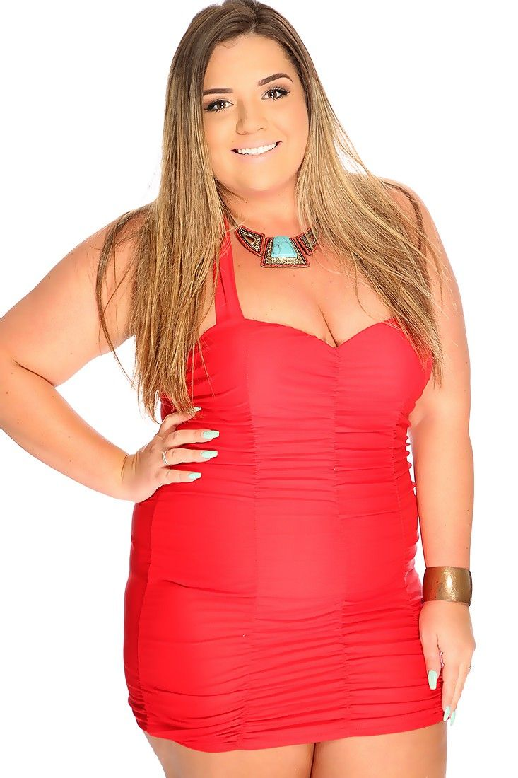 This sexy plus size one piece swimsuit includes; sweetheart neckline, adjustable halter top, ruched, and fitted. 100% Polyester.