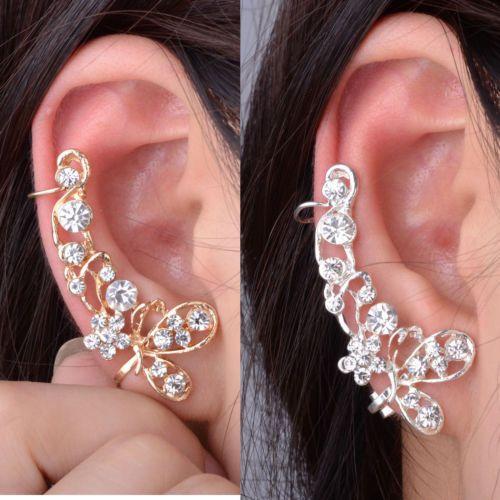 Retro-Crystal-Butterfly-Flower-Clip-Ear-Cuff-Stud-Earring-Wrap-Girl-Jewelry-Gift