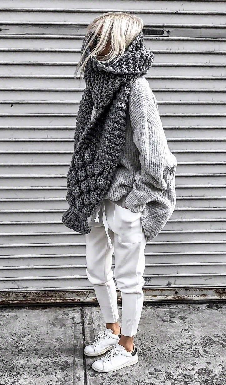 cozy fall outfit / oversized sweater knit scarf white pants sneakers