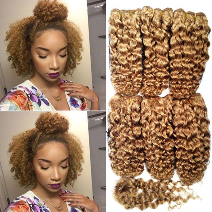 Baru kedatangan 7A pendek keriting keriting rambut, Tenun 6 bundel Peru rambut pendek gaya rambut keriting keriting ikal Virginhair
