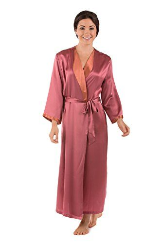 Womens Bathrobe Long Robe Nightrobe Silk  Bliss Mulberry LXL  Silk Nightrobe Wedding Present Anniversary Gift for Wife Her Nice Gifts for my Wife Gift Ideas Present for Wife Perfect Gift for Wife Perfect Present Ideas Romantic Silk Kimono Style Sleeve Robe for Women 0026MULXL *** You can get more details by clicking on the image.