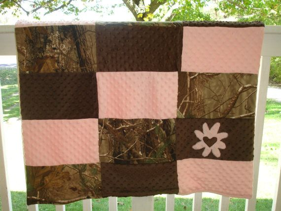 Pink Flower Camo Blanket by Poults on Etsy, $45.00