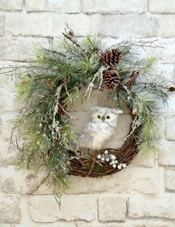 Owl Christmas Wreath, Front Door Wreath, Christmas Door Wreath, Grapevine Wreath, Winter Wreath, Snowy Owl Wreath, Christmas Decor, Holiday Wreath, White Owl, by Adorabella Wreaths!