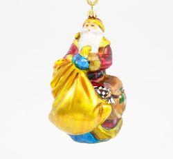 Mikołaj z workiem prezentów - Polskie bombki ręcznie malowane - sklep z ozdobami choinkowymi Komozja Family