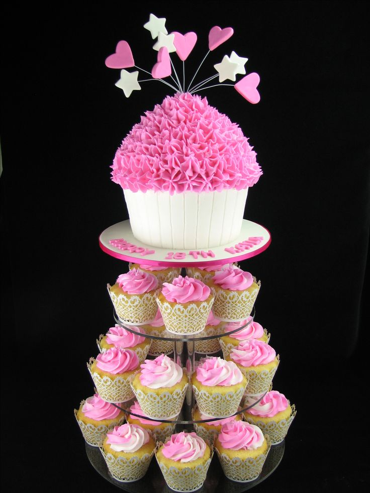 A giant chocolate mudcake with white chocolate mudcake cupcakes all with buttercream frosting.