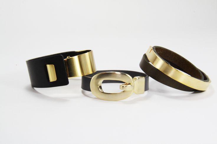 BENATRA - Leather Bracelets Posh, Ebony, Serene Content:  Italian Genuine Leather & Brass