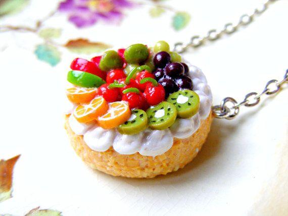 Polymer Cake Necklace , Polymer Clay Jewelry, Miniature Food, Kawaii Polymer Clay Charm, Kawaii Jewelry