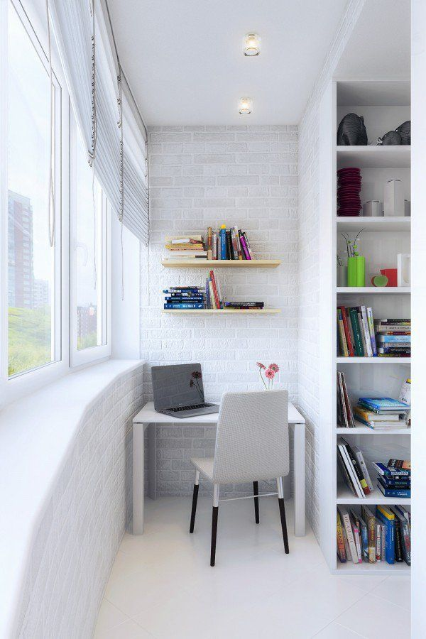 Transform your balcony into a small workspace that looks aesthetically pleasing and not necessarily cramped. Create wall hugging shelves for your books, a small table and chair and everything simply looks and feels perfect.