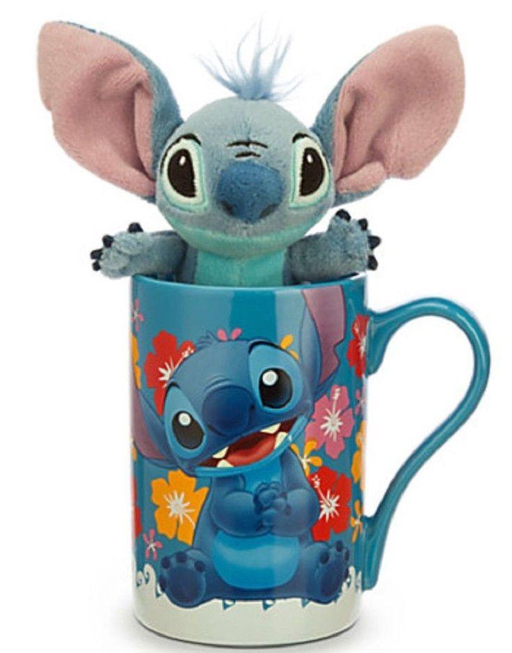 Disney Store Stitch Coffee Cup Mug Plush Toy Ceramic New