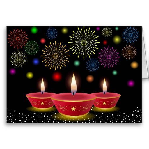 Diwali Celebrations with Glowing Lamps & Fireworks Greeting Card