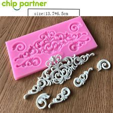 1pc 3D Chocolate Cake Mold Lace Surrounding Fondant Baking Silicone Mould Decors