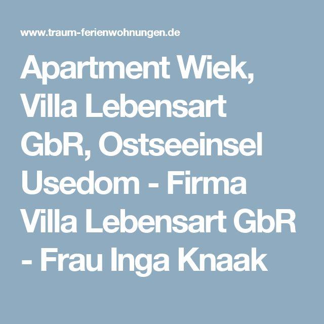Apartment Wiek, Villa Lebensart GbR, Ostseeinsel Usedom - Firma Villa Lebensart GbR - Frau Inga Knaak
