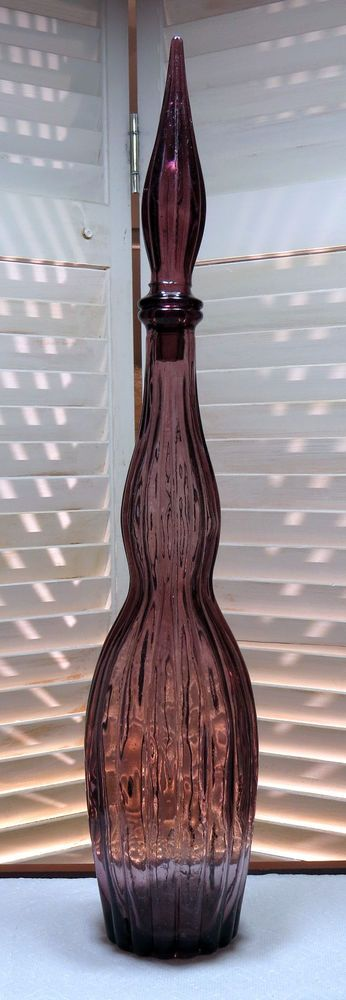 Vintage Purple Ribbed Genie Bottle Mid Century Modern Decanter with stopper