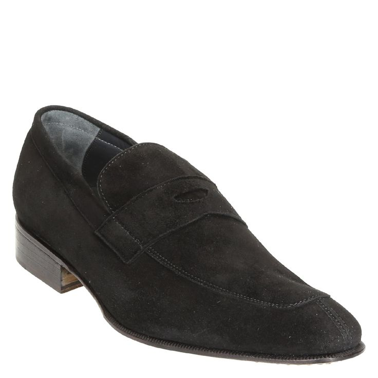 Black suede leather penny loafers shoes handmade - Italian Boutique €280