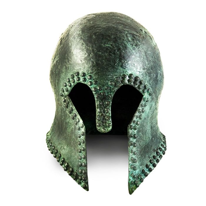 Copper Corinthian helmet with nails, from a workshop in Peloponnese, Greece. 7th - 6th century BC Ancient Olympia, Greece Copy in copper with oxidation