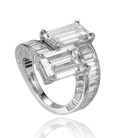 toi u0026 moi white gold ring set with two emeraldcut diamonds cts
