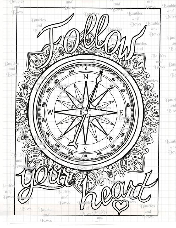 Compass Printable Adult Mandala Coloring Page Digital by ...