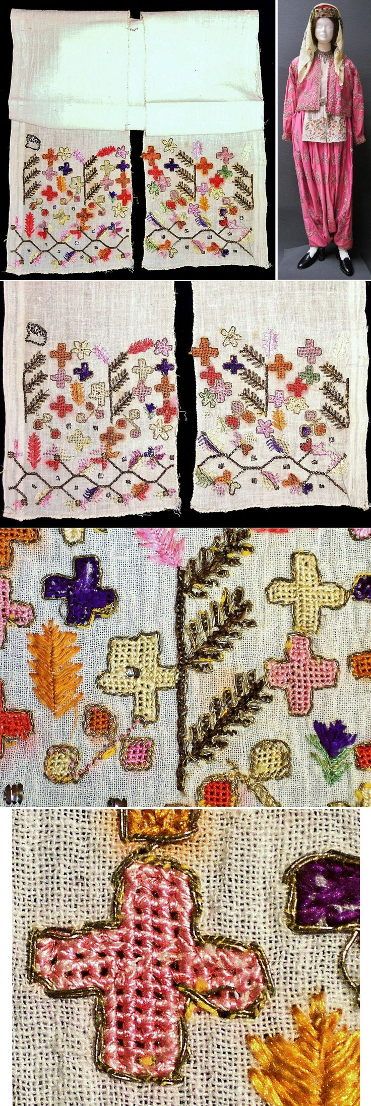 An 'uçkur' (sash/waist band), generally worn by women. From western Anatolia, ca. early 20th c. Cotton, adorned with two-sided (= identical on both sides) embroidery in silk & golden metallic thread + small motifs in 'tel kırma' (narrow metallic strips stuck through the fabric and then folded). Probably an apprentice's work (= young girl). The 'Greek cross'-motives indicate a possible 'Rum' (Greek Anatolian) origin. (Inv.n° brdw041 - Kavak Collection - Antwerpen/Belgium).