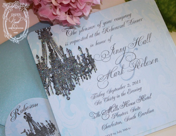 12 best chandelier invite images images on pinterest chandelier paper nosh blue damask with original versailles chandelier rehearsal dinner for client mozeypictures Image collections