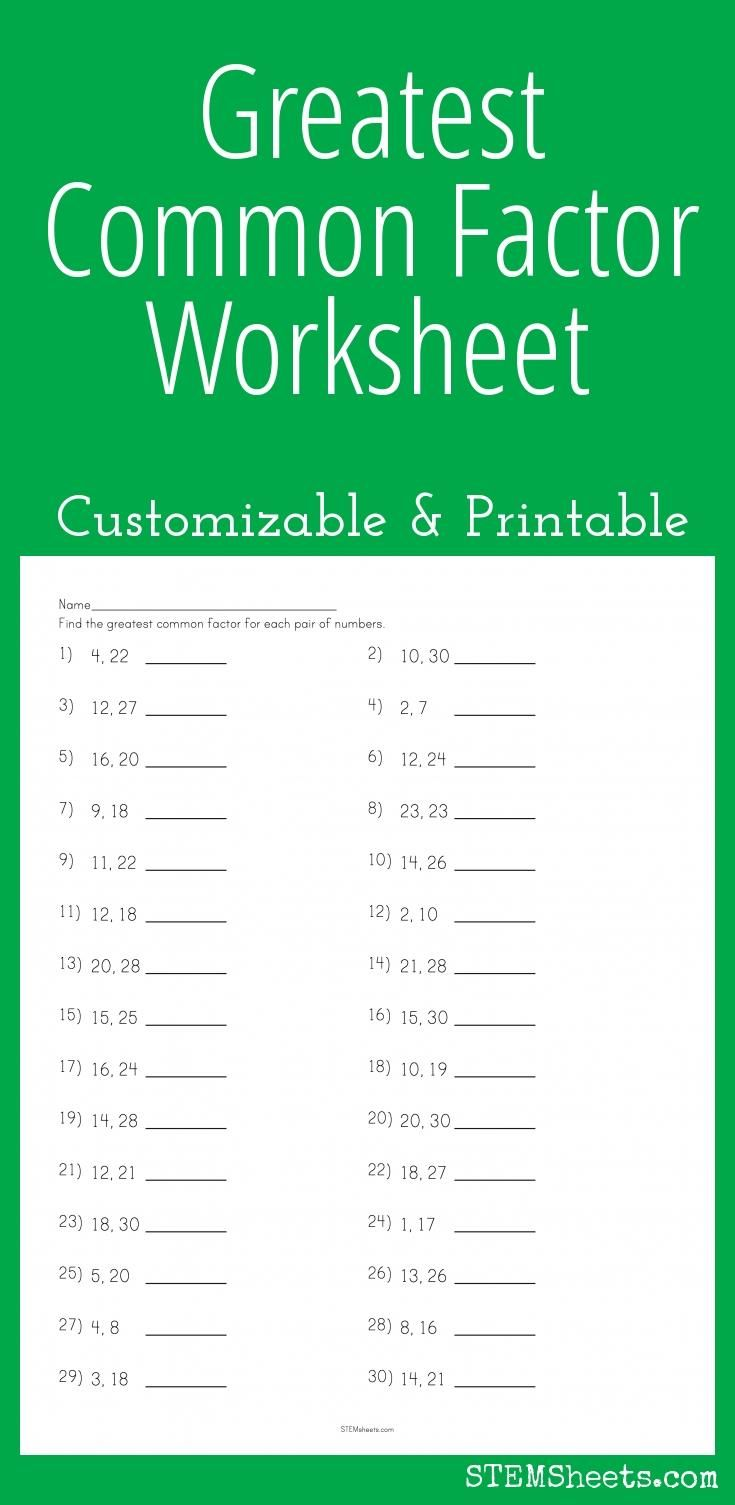 greatest common factor worksheet customizable and printable math stem resources pinterest. Black Bedroom Furniture Sets. Home Design Ideas