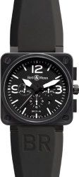 Bell & Ross Men's BR-01-94-CARBON Aviation Black Chronograph Dial Watch Watch