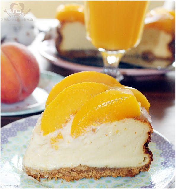 Cheesecake de pêssego, uma torta à base de queijo super cremosa