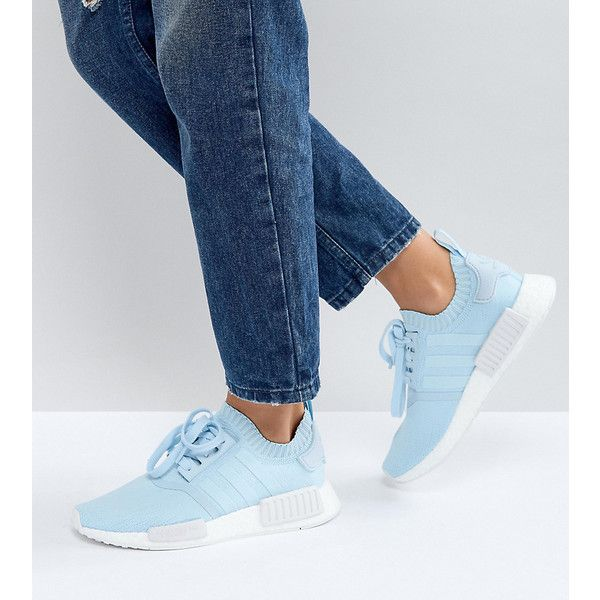 adidas Originals NMD R1 Sneaker In Pale Blue ($155) ❤ liked on Polyvore featuring shoes, sneakers, blue, adidas trainers, stretch trainer, stretch sneakers, pale blue shoes and lace up shoes