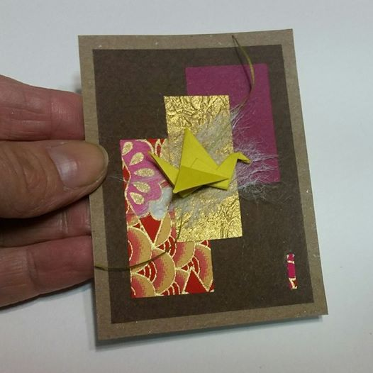 Sarcelle Origami Crane on Paper Collage. Chiyogami and Tant paper. Small Wall Art. Aceo 2.5'' x 3.5''