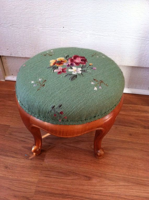 Vintage Needlepoint Stool Wooden Stool Small by LynorByJessica, $59.00