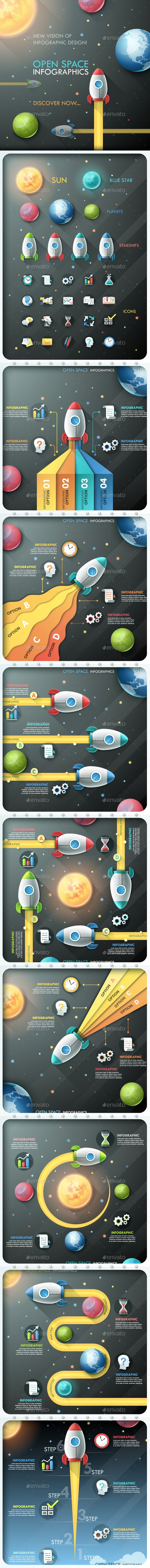 Open Space Infographics (Timeline, Photoshop PSD, JPG Image, Vector EPS, AI Illustrator, CS2, brochure, bundle, business, chart, collection, creative, data, design element, graphic, illustration, info, infograph, infographic, information, layout, modern, option, pack, planet, process, ribbon, set, shape, space, spaceship, startup, template, vector, visualization, web)