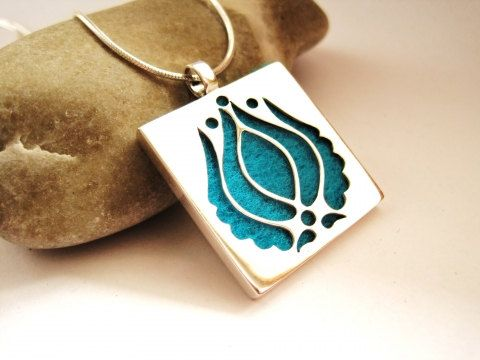 Sterling Silver Matyo Pendant, Matyó Embroidery Motif with Exchangeable, Commutable Background, Silver Jewelry, Gift for Her