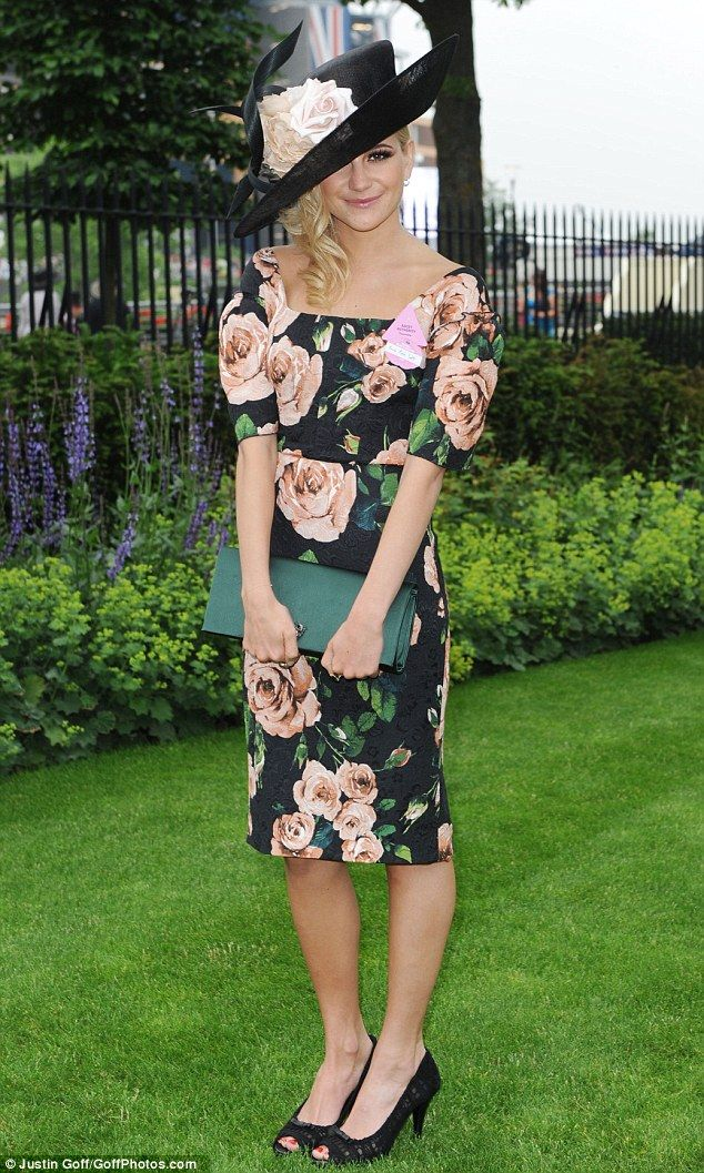 So ladylike: Pixie Lott swaps her shorts for a demure floral frock for Ladies Day at Royal Ascot