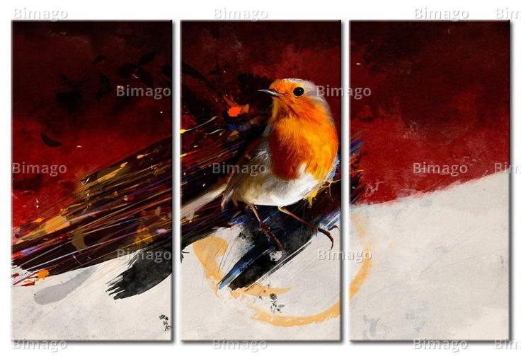 Quadro Uccellino su sfondo biancorosso - bird on canvas