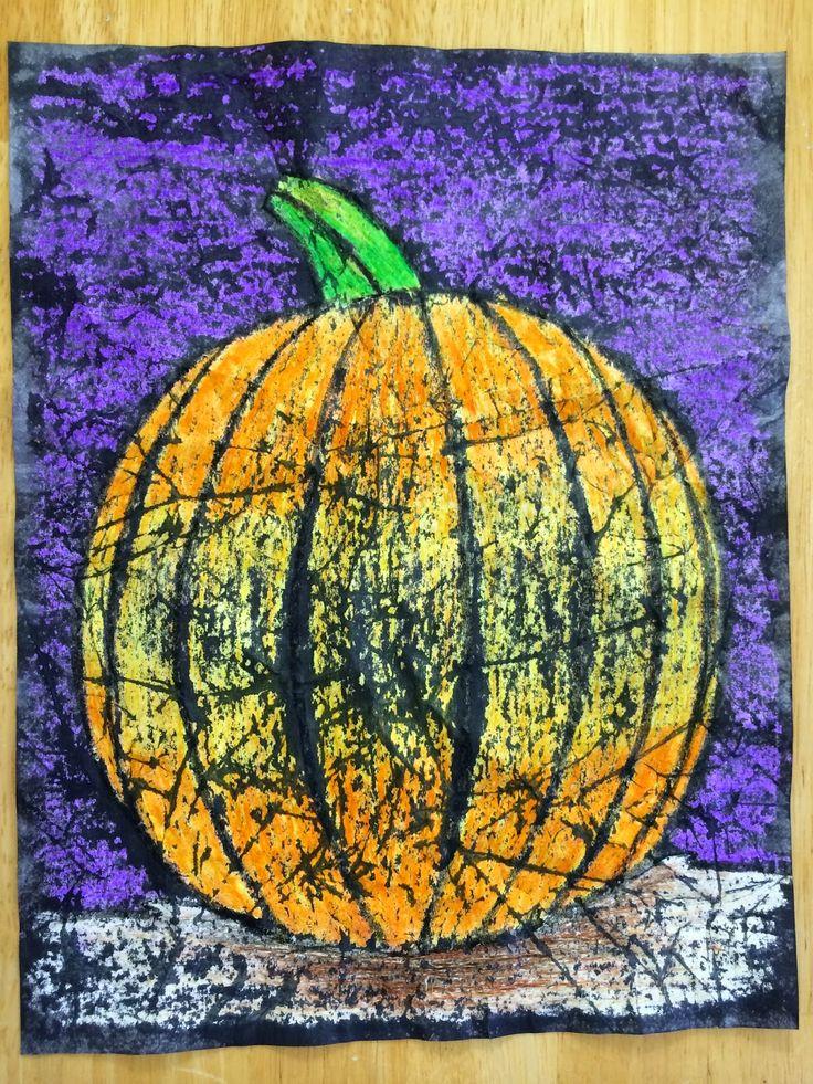 Kathy's AngelNik Designs & Art Project Ideas: Crayon Batik Pumpkin In The Moonlight Color Value Lesson