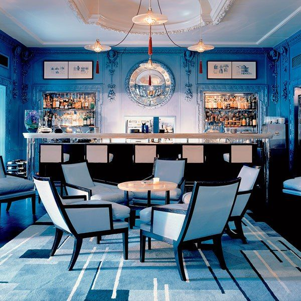 Remembering AD100 designer David Collins. Here, his enchanting Blue Bar at the Berkley hotel in London