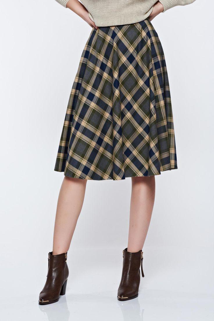 LaDonna cloche office green skirt plaid fabric, women`s skirt, flaring cut, plaid fabric, side zip fastening, non-flexible thin fabric