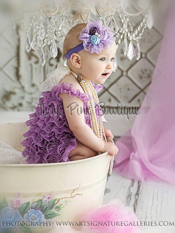 Lavender petti lace romper and headband SET, petti romper,baby headband, flower headband,vintage inspired headband and lace petti romper. $28.90, via Etsy.