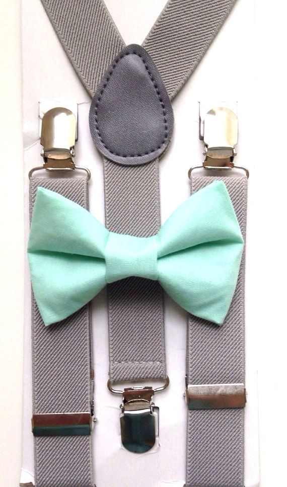 Light gray suspenders  + Mint Green Bow tie Set toddler kids boy boys fits 6 months to 13 years old