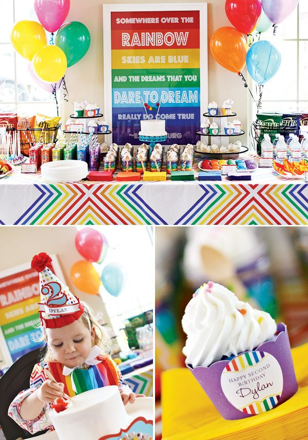 Bright And Modern Rainbow Party Rainbow Birthday Party Rainbow