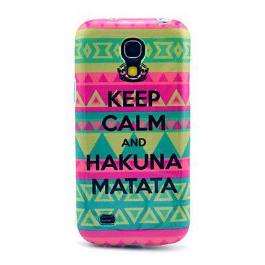 Keep Calm og Hakuna Matata Carpet Mønster TPU Soft Back Cover Case til Samsung Galaxy S4 Mini