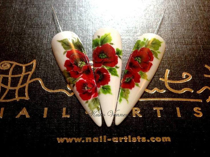 one stroke poppies nail art