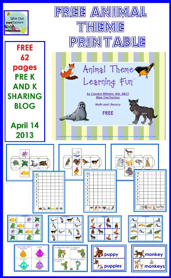 free animal theme printable for homeschool and preschool and kindergarten
