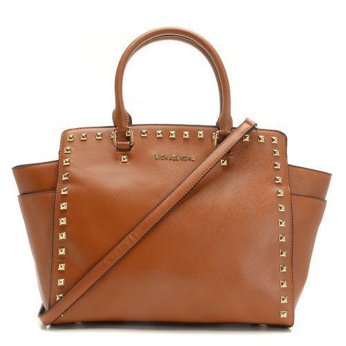 MICHAEL Michael Kors Large Selma Studded Saffiano Tote Luggage - $130.00 : Bag Store | ebagstore.com