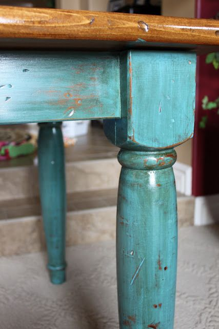 pretty blue  How to paint and distress -- love turquoise and dark wood