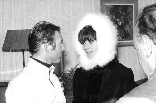 Audrey Hepburn photographed with the American skier Billy Kidd during the Winter Olympic Games in Chamrousse, a ski resort in southeastern France, in the Belledonne Mountain Range, near Grenoble, in the Isère department, on February 15, 1968