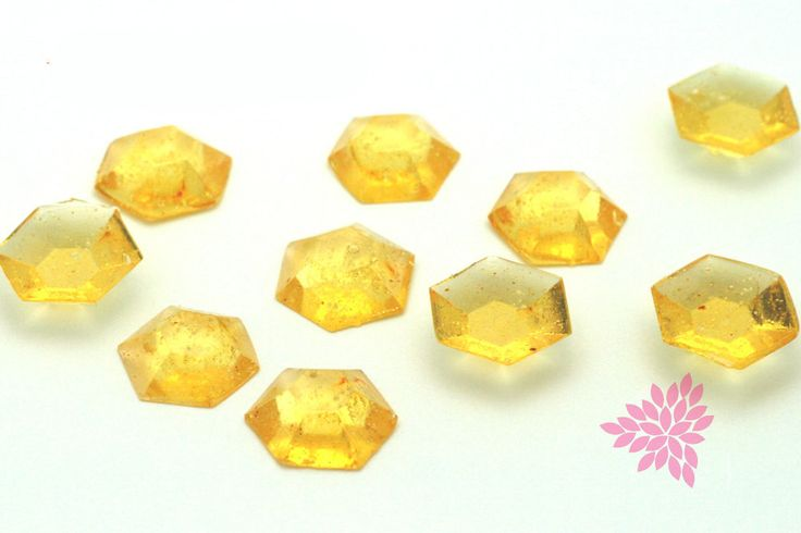Sugar Jewels, Cake Bling! Golden Yellow, Citrine Edible Hexagon Gems, 19mm