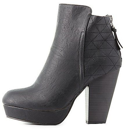 Quilted Platform Ankle Boots