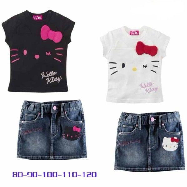 New Hello Kitty Baby Girl Toddler Clothes Set Top Denim Skirt Dress Size 1 2 3 4