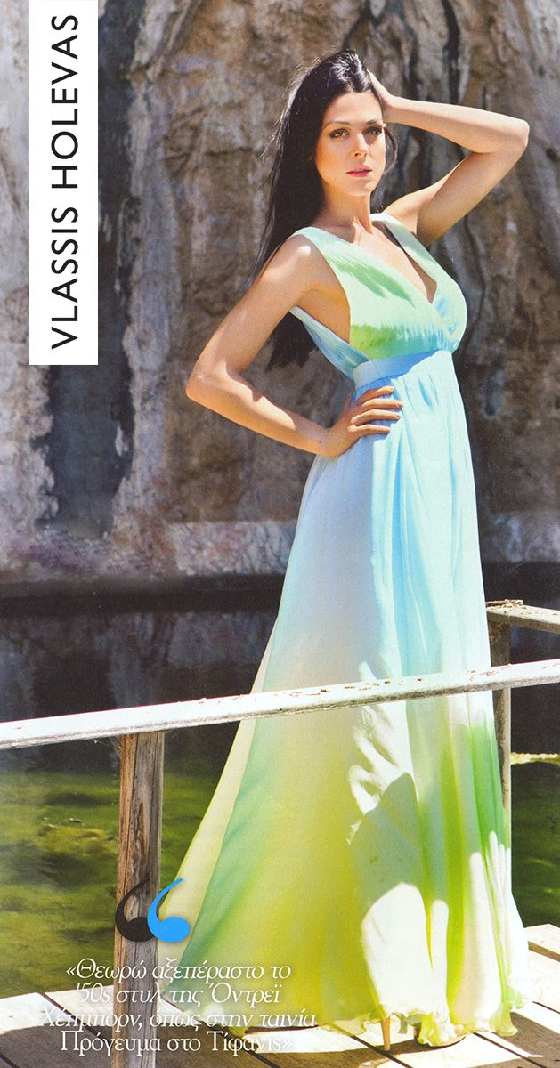 Ioanna Triantafyllidou is a Greek actress feeling in style,wearing the colors of the summer #vlassisholevas #fab #style #dress #summer
